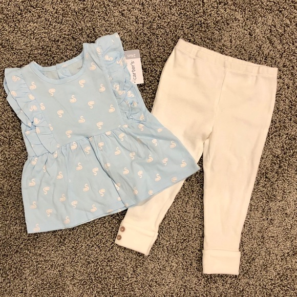 Carter's Other - Carter's blue and white summer outfit with swans